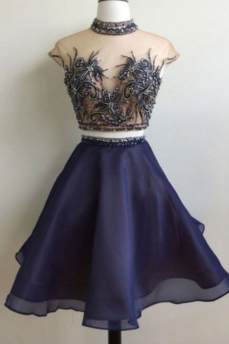 New Arrival A-Line Two-Piece Dark Blue Short Homecoming Dress with Beading