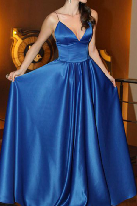 New Elegant Royal Blue Prom Dress,Saghetti Strap Long Prom Dresses,V Neck Satin Prom Gown Evening Dress,Cheap Graduation Dress