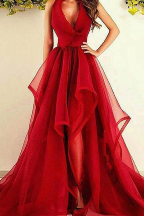 New Fashions V-Neck Red Organza Long Prom/Evening Dress