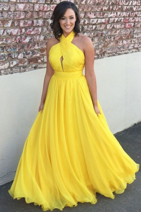 Backless Halter Yellow Prom Dress party dresses