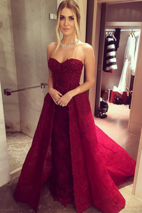 New Arrival Prom Dress,Modest Prom Dress,lace sweetheart long burgundy evening gowns 2018 prom dress detachable skirts