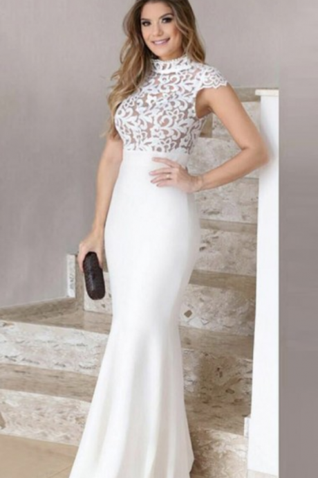 Mermaid High Neck Floor-Length White Stretch Satin Prom Dress with Lace