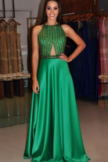 A-Line Jewel Sweep Train Keyhole Green Satin Open Back Beaded Prom Dress