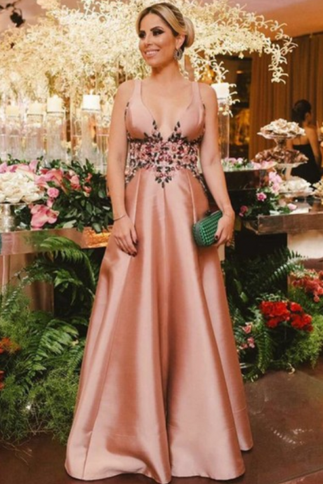 A-Line Deep V-Neck Sweep Train Blush Satin Backless Prom Dress with Beading