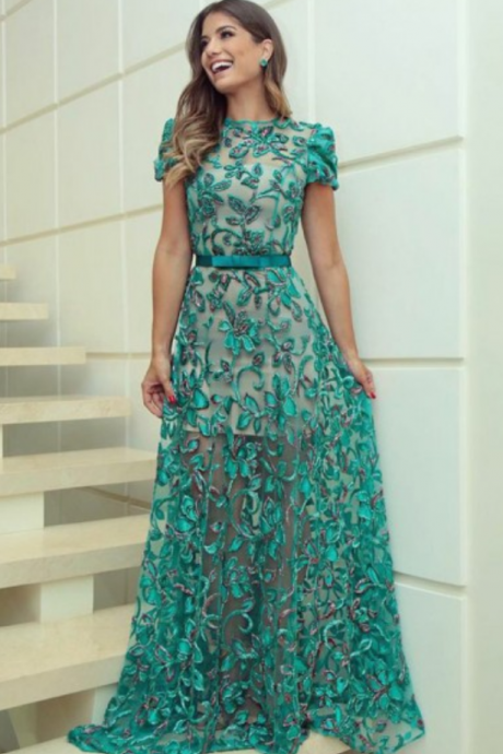 A-Line Bateau Sweep Train Short Sleeves Dark Green Lace Prom Dress with Belt