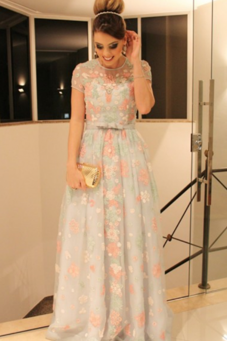 A-Line Jewel Cap Sleeves Sweep Train Mint Lace Prom Dress with Belt