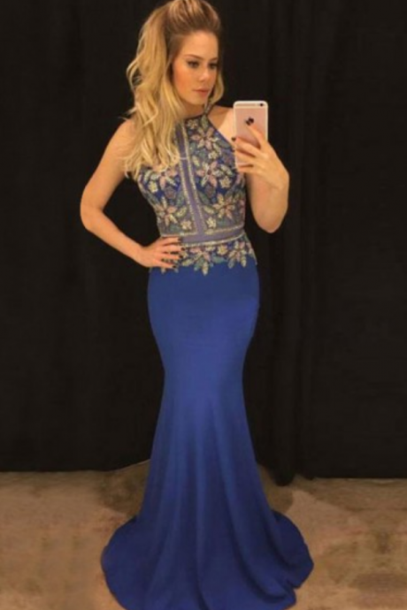 Mermaid Cross Neck Sweep Train Royal Blue Spandex Prom Dress with Beading