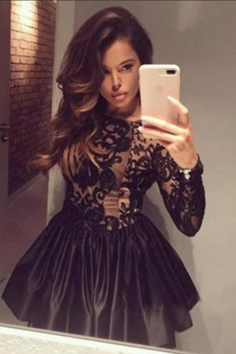 Black Boat Long Sleeve Short Prom Dress,Ball Gown V Back Appliques Homecoming Dress,Party Dress