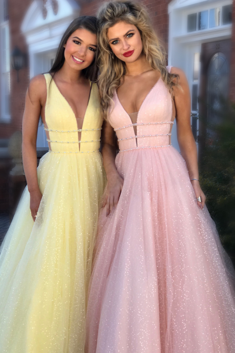 Custom Made Pink Sleeveless V-Neckline Tulle Evening Dress, Prom Dress with Sequins