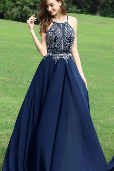 9f9552271f8 Keyhole Front Long Navy Prom Dress