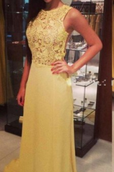 Yellow Lace Prom Dresses, See Through Long Prom Dresses,Cheap Prom Dresses,Graduation Dresses,Formal Women Dress,Evening Party Gowns
