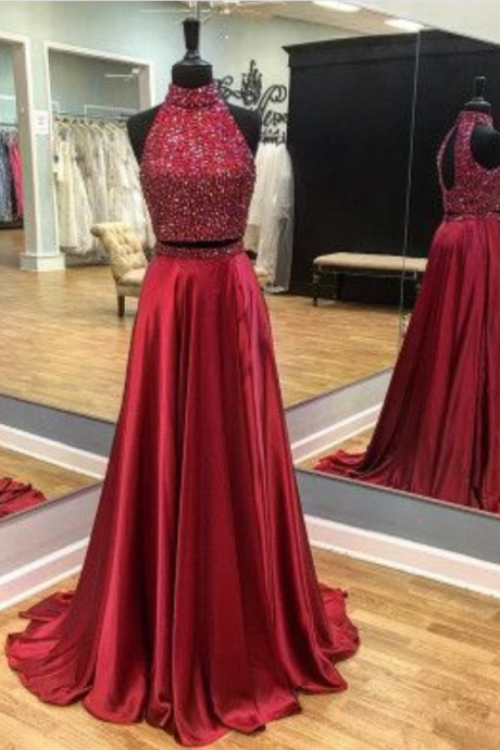 Sparkly Beaded Prom Dress, Sexy Burgundy Prom Dresses with Slit, Long Evening Party Dress