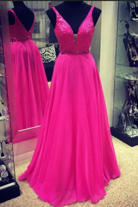Gorgeous A-line Long Chiffon V-neck Hot Pink Prom Dress,Prom Dress,Real Photo Dress,Evening Dress