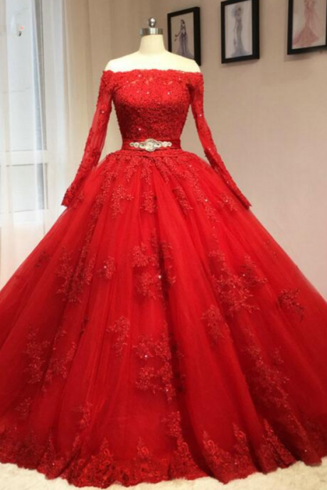 lace tulle long prom dress,red evening dress,