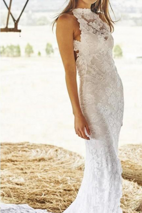 Halter Lace Mermaid Long Wedding Dress Featuring Open Back and Side Slit, Beach Wedding Dress