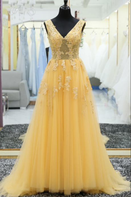 V Neck Lace Applique Prom Dress,A Line Lace Up Back Yellow Prom Dresses,Long Prom Gown Formal Evening Party Dress