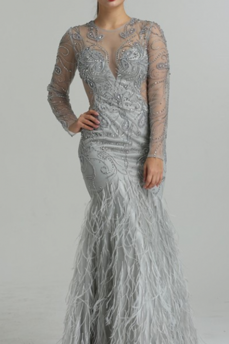 2018 Dubai Designer CUT-OUT Sexy Evening Dresses Long Sleeves Diamond Feathers Mermaid Tulle Evening Gowns