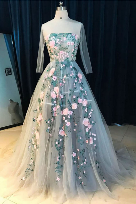 Charming Sheer Neck Long Sleeves Prom Dresses Evening Dresses with Handmade Flowers