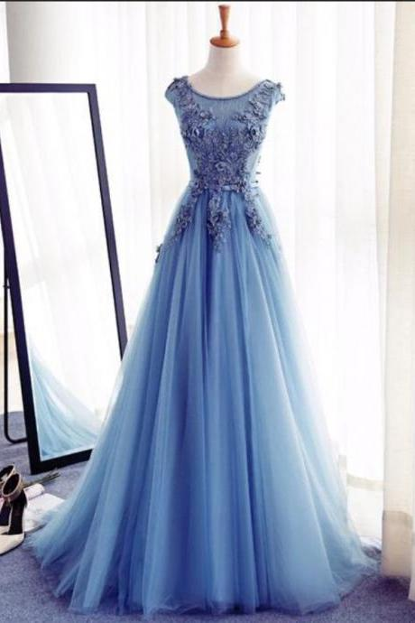 Bule A-Line Prom Dress,Flowers Prom Dresses,Long Formal Dresses, Formal Evening Dress, Charming Prom Gowns, Formal Women Dress,Prom Dress