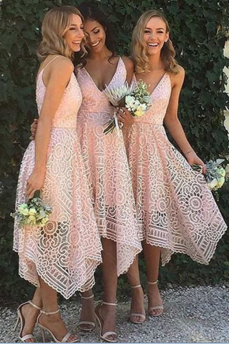Wedding Party Dress, Hot Style Bridesmaid Dresses ,Irregular Hem Prom Dress,V Neck Bridesmaid Dress Lace Pattern Bridesmaid Dress HG1695