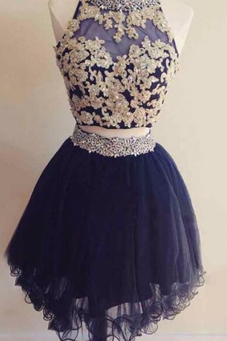2 Pieces Homecoming Dresses, Navy Blue Homecoming Dresses, Short Prom Dresses,Appliques Lace Party Dresses, Cheap Party Dress HG1692