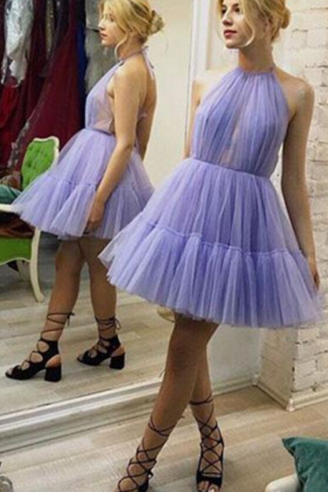 Pretty Homecoming Dresses,Cute purple tulle short prom dress, homecoming dress