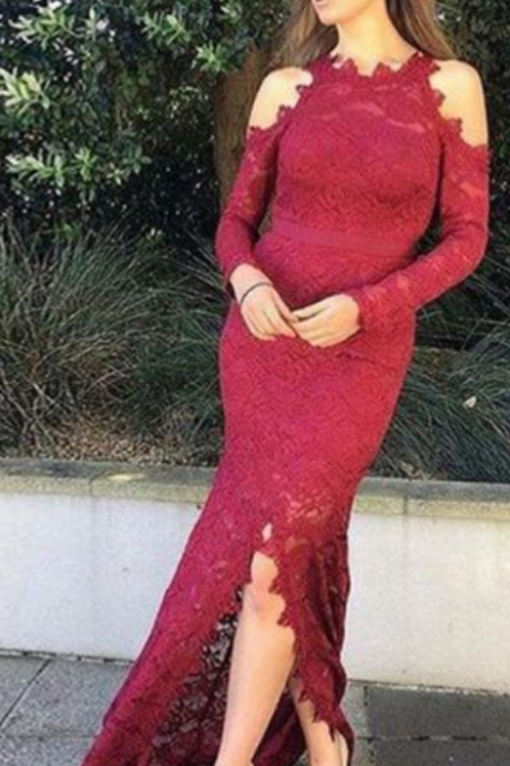 Prom Dress, Long Sleeve Mermaid Prom Dresses, Lace Evening Dress