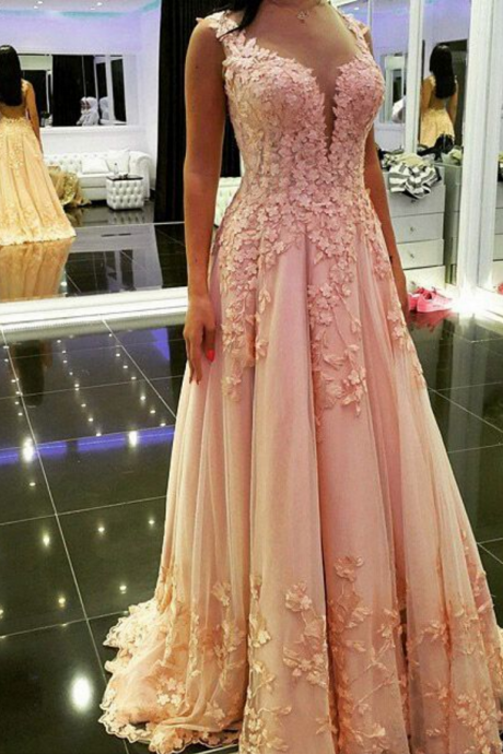 Prom Dress, Long Lace Prom Dress, Princess Formal Prom Dress, V-neck Tulle Prom Dress