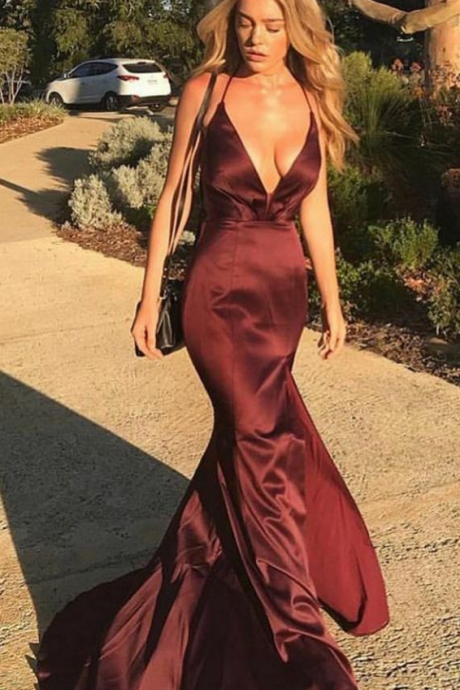 gorgeous mermaid prom party dress, backless burgundy evening gowns