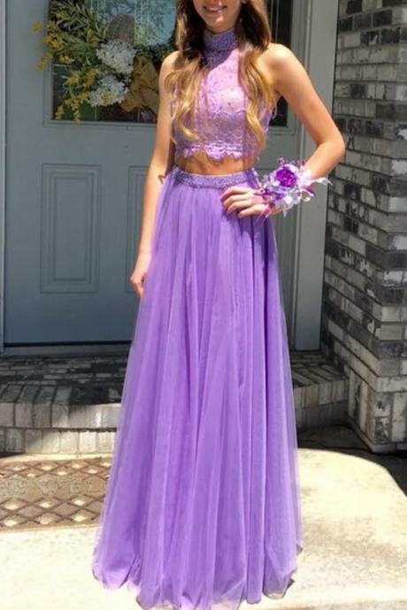High Neck Prom Dress, Purple Prom Dress, Two Piece Prom Dresses, Lace Prom Dress, A Line Prom Dress, Prom Dresses