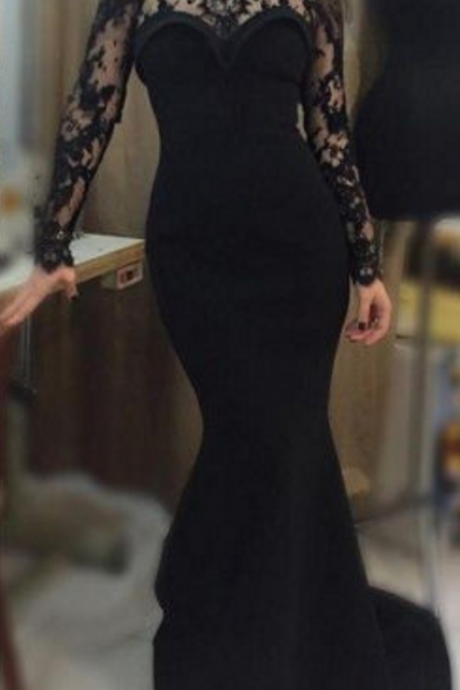Mermaid Evening Dress, Black Evening Dress, Lace Applique Evening Dress, Long Evening Dress, Sexy Evening Dress,