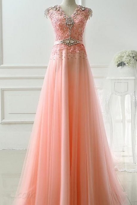 Pink Tulle Handmade High Quality Long Prom Dress, Pink Formal Dress, Prom Gowns