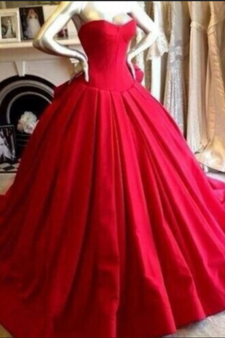 Satin Prom Dresses,Princess Prom Dress,Ball Gown Prom Gown,Red Prom Gown,Elegant Evening Dress,Modest Evening Gowns,Ruffled Party Gowns