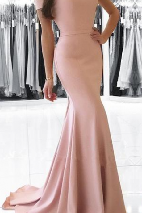 Charming Prom Dress, Mermaid Prom Dresses , Long Evening Dress,Cap Sleeve Prom Dresses,Backless Evening Dress