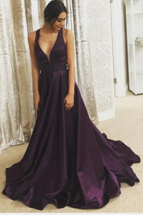 Purple V-Neck Long Prom Dress,Waist Beaded Purple Evening Dress