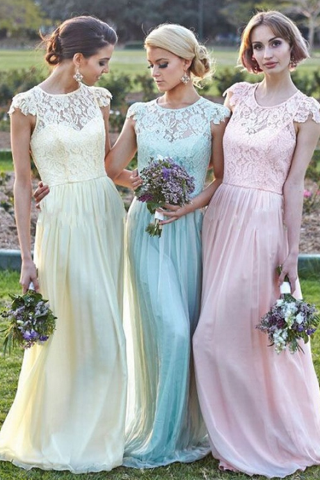 2015 Bridesmaid Dresses,Bridesmaid Dresses, Yellow Blue Pink Bridesmaid Dresses, Cheap Bridesmaid Dresses, Long Bridesmaid Dresses, Chiffon Bridesmaid Dress, Bridesmaid Gowns
