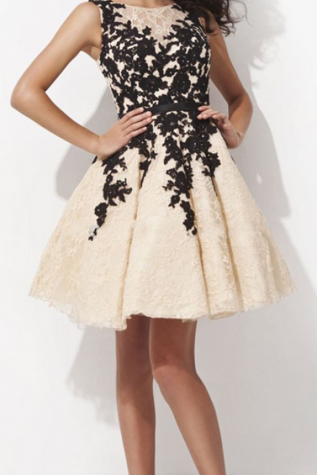 A-Line Evening Dress,Lace Evening Dress,Short Evening Dress,Appliques Evening Dress