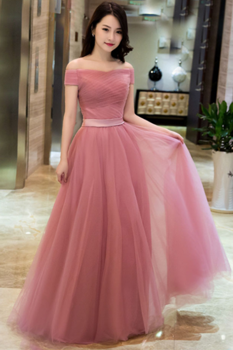 Elegant Pink A line Off Shoulder Prom Dresses,Tulle Long Prom Dress, Prom Dress,Simple Prom Dresses,Evening Party Dress,Wedding Party Dress,Formal Dress ,Evening Dress