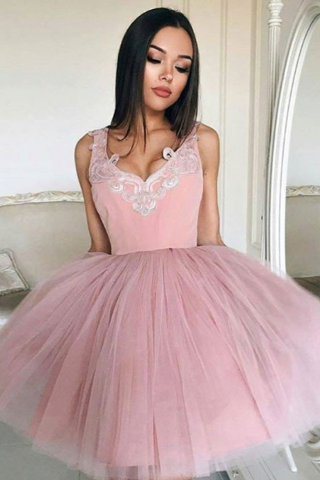Cute A-line Short Pink Prom Dress Homecoming Dress