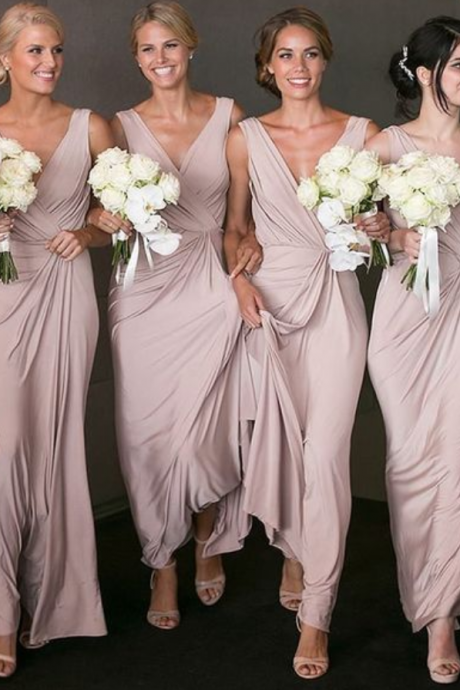Elegant Bridesmaid Dress, V-neck Sheath Bridesmaid Dresses,Chiffon Bridsmaid Dress, Long Bridesaid Dresses