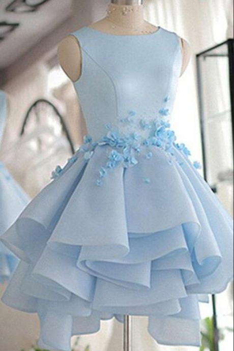 Sky Blue Homecoming Dresses,Cheap Homecoming Dress,Short Prom Dress, A-line Scoop Neck Prom Dress,Satin Tulle Short Flowers Original Prom Dresses,Mini Dress,Sweet 16 Dress,Homecoming Dress