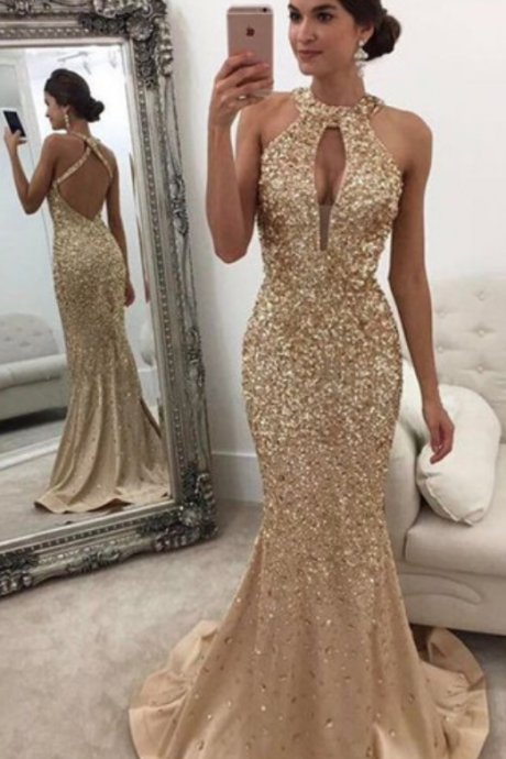 Gold Gorgeous Prom Dresses,Backless Formal Dress Mermaid Halter Sleeveless Crystals Prom Dress