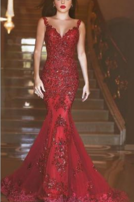 formal dresses red Elegant Mermaid Crytal Prom Dresses Sheer Illusion Back Court Train Evening Gowns