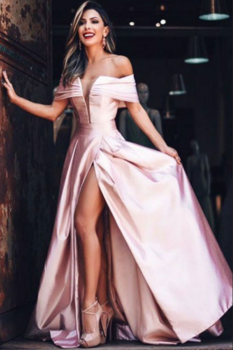 Charming blush pink party dress, stain long prom dress, off shoulder prom dress