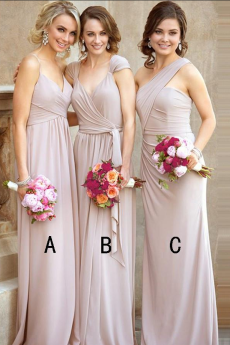 A-line Bridesmaid Dresses Chiffon Long Bridesmaid Dresses With Ruffles