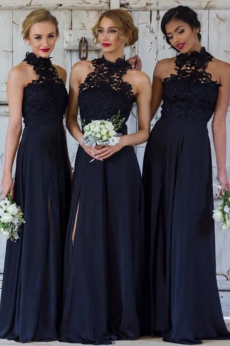 A-line Bridesmaid Dresses Dark Navy Long Bridesmaid Dresses
