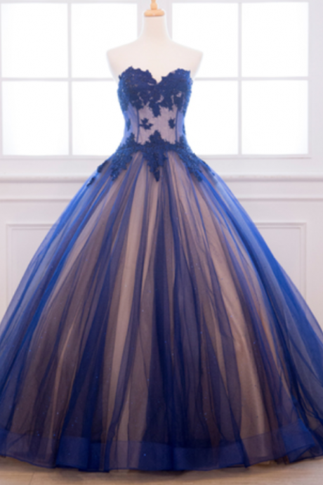 Charming Blue Appliques Prom Dress, Sweetheart Tulle Ball Gowns, Sleeveless Quinceanera Dresses