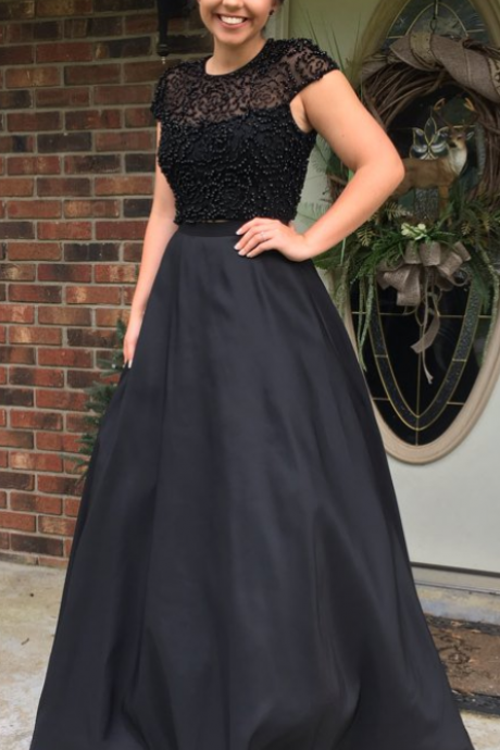 Prom Dress, Black Prom Dress, Beading Prom Dress, Satin Prom Dress, Keyhole Back Prom Dress, Lining Prom Dress, Cap Sleeves Prom Dress, Charming Evening Dress, Party Dress