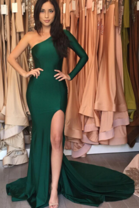 Evening Dresses, Mermaid Evening Gowns, Side Slit Prom Dresses for Party, Long Formal Dress