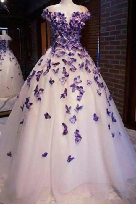 Purple Butterfly Appliques Ball Quinceanera Dress Birthday Party Sweet 15 Gown